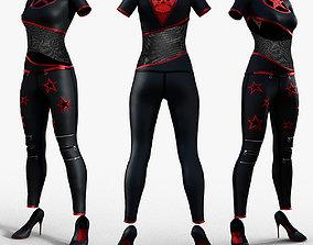 Womens Gothic PU Bodysuit Jumpsuit 3D model