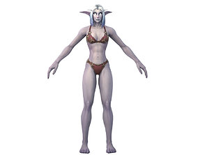 3D model Nightelf Female Full Rig and HumanIK