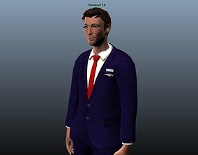 3D asset Airhostess male - Animated