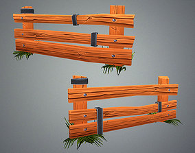 3D asset Low Poly Farm Fence