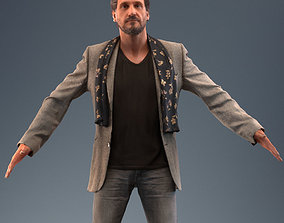 Rigged low poly 3d man in casual rigged 1