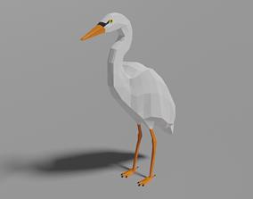Cartoon Heron 3D asset
