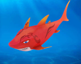 3D model Cartoon Shark Rigged Animated
