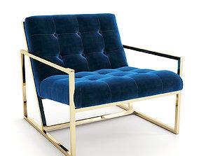 Goldfinger loungechair with brass legs 3D model