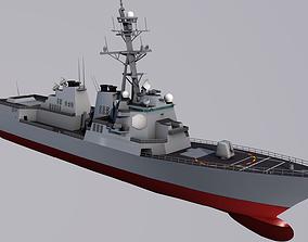 USS Winston S Churchill and Sikorsky SH 60 3D model