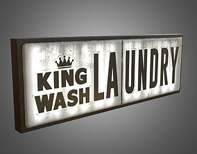 Laundry Sign Big - PBR Game Ready 3D asset