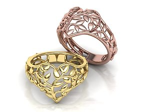 Ring Heart Leaves style Own design 3d model 0244