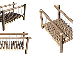 public Playground Wooden Log Balance Beam 3D