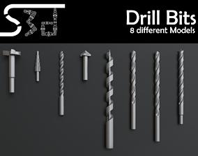 low-poly Drill Bit Models