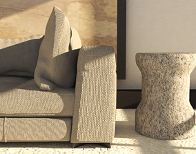 3D model concrete coffee table