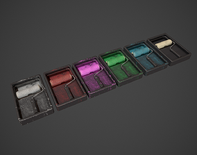 3D asset Paint Roller and Tray - Color Variations