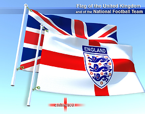 Flags of the United Kingdom and the National 3D asset 1