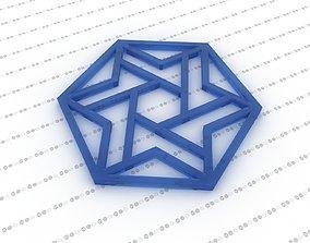 3D model Star of David Hexagon pendant