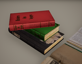 3D asset sport Books Low Poly Game Ready