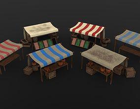 3D model Market Stall Set