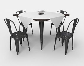 cafe table and Tolix cairs 3D