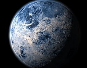 Blue alien planet 3D asset