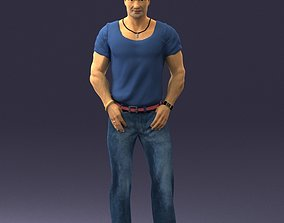 Strong man in a blue t-shirt and jeans 0090 3D Print 1
