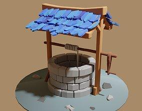 lowpoly well 3D asset
