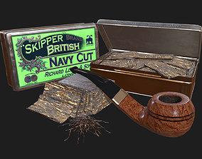 3D asset Old Tobacco Tin - Skipper Navy Cut