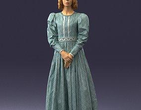 Girl in a long gray dress 0181 3D Print Ready