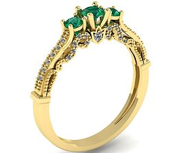 three stone ring 3D printable model women