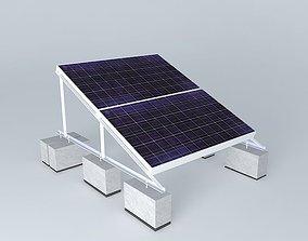 Solar installation on rooftop 2 lying panels 3D model 2
