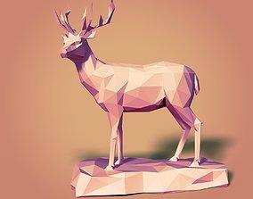 LowPoly Deer Statue 3D asset