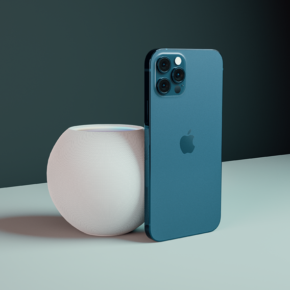 iPhone 12 Pro with HomePod Mini