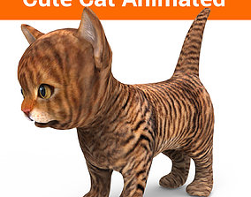 3D Cartoon Cat Animated Model animated low-poly