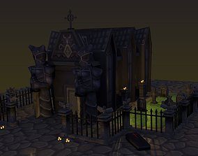 3D model ultra low poly Mini cementery pack