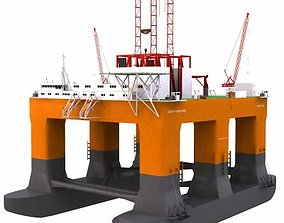 3D model Semisubmersible Oil and Gas Drilling Rig- 01 -