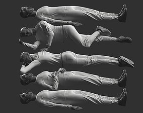 3D Man Mannequin Lying 5 Poses