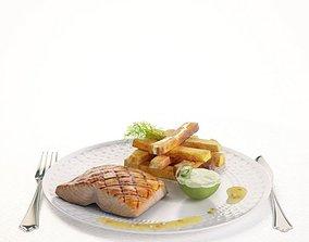3D Food Salmon And Potatoes