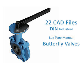 22 Files - Lug Type DIN Butterfly Valves with handle 3D