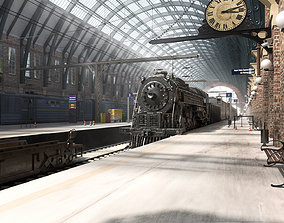 Realistic Railway Station King Cross style with 3D