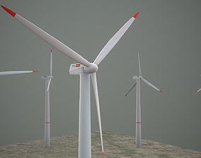 Animated wind turbine model 3D