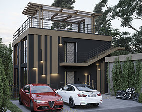 3-storey villa on a slope with panoramic windows 3D model