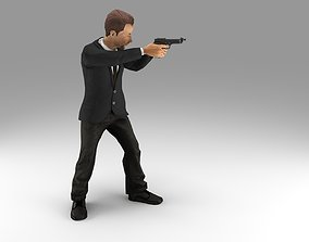 weapon 3D model gangster gun in hand ready to shoot