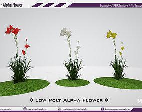 VR / AR ready Low Poly Flower Alpha model