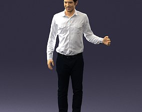 Hugging man in white shirt 0099 3D