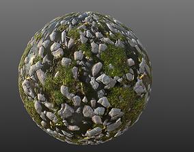 Mossy River Stones 002 PBR Material 3D model