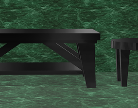 3D Modern Style Coffee Table With Matching Stool