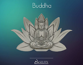 3D model of Buddha on sacred Lotus symbolic relief