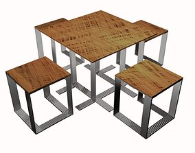 3D model table with stools