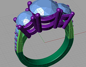 woman Women ring with gems 3dm stl 3D print model