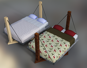 Bed Low Poly model 3d realtime