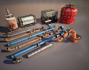 Industrial Props Set 3D asset low-poly