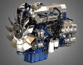 D13 Heavy Duty Truck Engine - 6 Cylinder Diesel Engine 3D