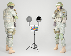 Fully equipped American soldier ready to fight 3D asset